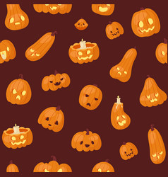 halloween pumpkins heads with scary faces seamless vector image