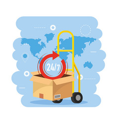 Hand truck with box package and global map vector