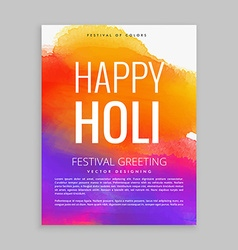 Happy holi poster with colorful ink vector
