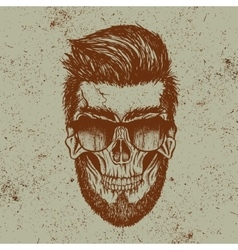 hipster skull human with sunglasses vector image