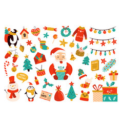 holiday set with cute characters vector image