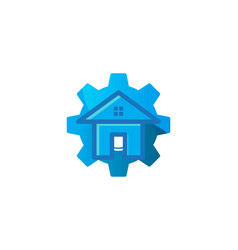 house and gear house repair logo inspiration vector image