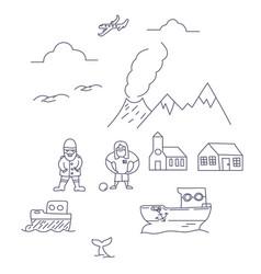 iceland symbols hand drawn set vector image