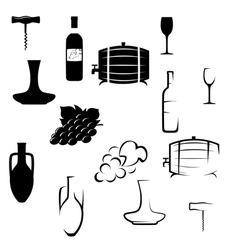 Icons on the theme of wine vector image