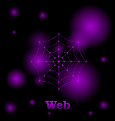 image of a polygonal web of pink color on a black vector image