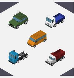 isometric transport set of autobus freight lorry vector image