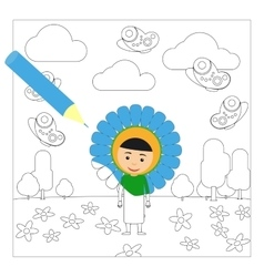 Kid in flower dress coloring page vector