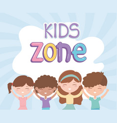 kids zone cute little girls and boys happy vector image