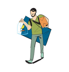 Man carry home furniture icon vector