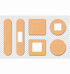 medical adhesive plaster set medical patches vector image