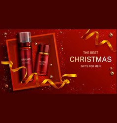 men cosmetics christmas gift bottles foam lotion vector image