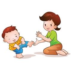 Mom teaches son wear pants vector