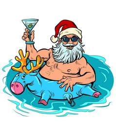 new year party santa clays at resort vector image