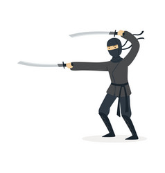 ninja assassin character in a full black costume vector image