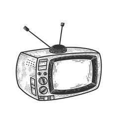 old tv set sketch vector image