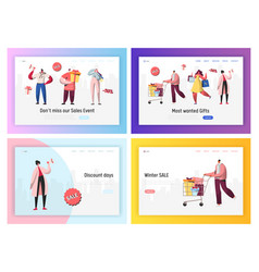 Online sale shopping promotion landing page set vector