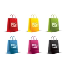 Paper bags on white Isolated Colored vector image