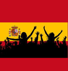 people silhouettes celebrating spain national day vector image
