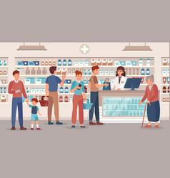 Pharmacy store pharmacist sells various vector