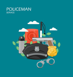 policeman service flat style design vector image