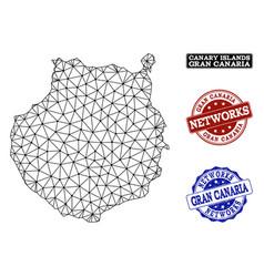 Polygonal network mesh map of gran canaria vector