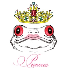 Portrait of a frog on a white background with a cr vector image vector image