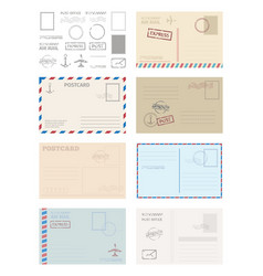 Postcard envelope template set greeting card vector