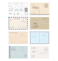postcard envelope template set greeting card vector image