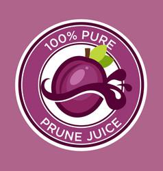 Prune juice label vector