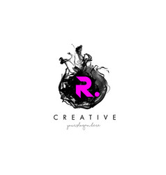 R letter logo design with ink cloud texture vector