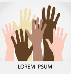 Raised hands up together with different skin tone vector