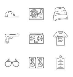 Rap icon set outline style vector