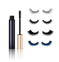 Realistic false lashes mascara set vector