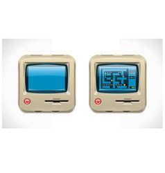 retro computer square icon vector image