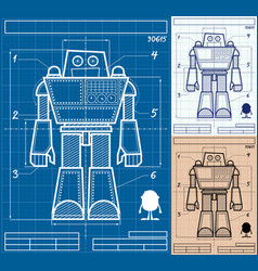 Robot blueprint cartoon vector