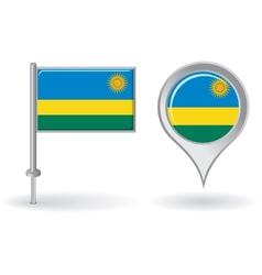 Rwanda pin icon and map pointer flag vector