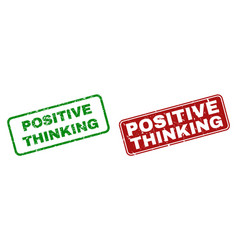 scratched positive thinking rubber stamps with vector image