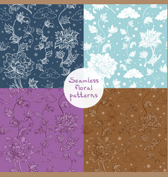 seamless floral pattern set 4 variants vector image