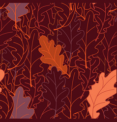 seamless plant pattern of oak leaves a linear vector image