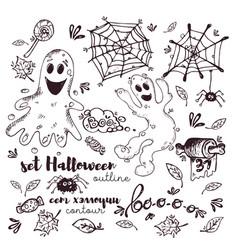 set halloween dark outline on white background vector image