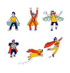 set little super hero kids wearing costumes vector image