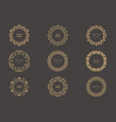 Set of circular baroque patterns vector