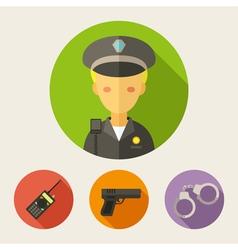Set of flat style icons Policeman radio set gun vector image
