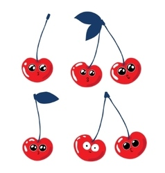 Set of funny cherries on a white background vector image vector image