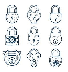 Set of Nine Padlocks vector image