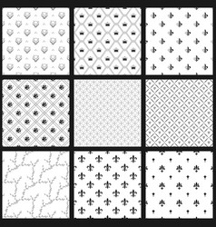 set of seamless black and white patterns vector image