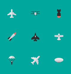 Set of simple aircraft icons elements bomb vector