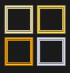 set picture frames isolated on black background vector image