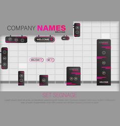 set signage sign vector image