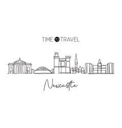 single continuous line drawing newcastle city vector image